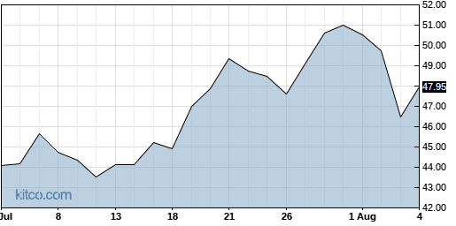 CGNX 1-Month Chart