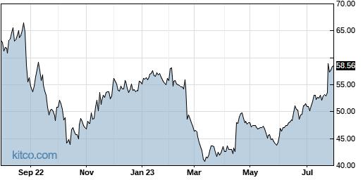 LIVN 1-Year Chart