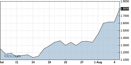 SNCR 1-Month Chart