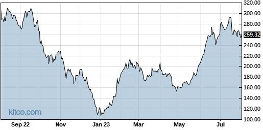 TSLA 1-Year Chart